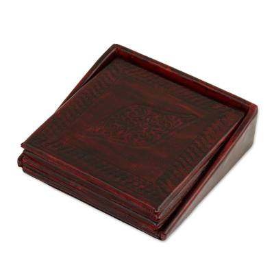 Embossed Leather Coasters from India (Set of 4)
