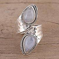 Rainbow moonstone wrap ring, 'Eternal Wonder' - Rainbow Moonstone and Sterling Silver Wrap Ring from India