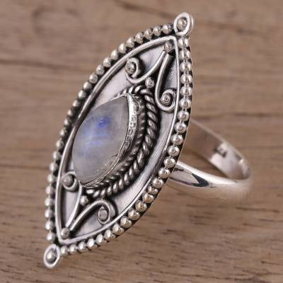 Rainbow moonstone cocktail ring, 'Timeless Glow' - Sterling Silver Marquise Rainbow Moonstone Cocktail Ring