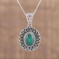Malachite pendant necklace, 'Enthrall' - Malachite and Sterling Silver Pendant Necklace from India