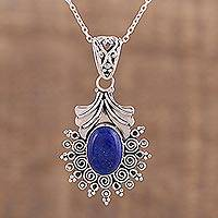 Lapis lazuli pendant necklace, 'Deep Eternity' - Lapis Lazuli and Sterling Silver Pendant Necklace from India