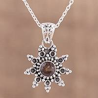 Smoky quartz pendant necklace, 'Astral Allure' - Smoky Quartz and Sterling Silver Pendant Necklace from India