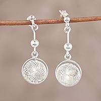Sterling silver dangle earrings, 'Shimmering Dimensions' - Modern Sterling Silver Dangle Earrings Handcrafted in India
