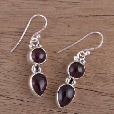 Garnet dangle earrings, 'Scarlet Eternity' - Handmade Garnet Dangle Earrings from India