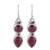 Garnet dangle earrings, 'Scarlet Eternity' - Handmade Garnet Dangle Earrings from India (image 2a) thumbail