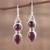 Garnet dangle earrings, 'Scarlet Eternity' - Handmade Garnet Dangle Earrings from India (image 2b) thumbail