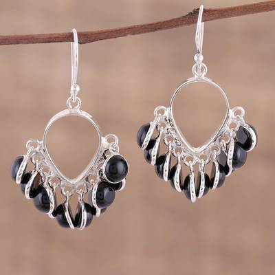 Onyx chandelier earrings, 'Midnight Luster' - Onyx and Sterling Silver Chandelier Earrings from India