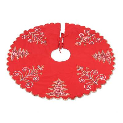 Embroidered Cotton Tree Skirt in Poppy from India