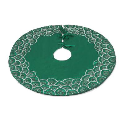 Embroidered Satin Tree Skirt in Emerald from India