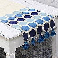 Cotton table runner, 'Blue Fusion' - 100% Cotton White and Blue Octagon Table Runner with Tassel