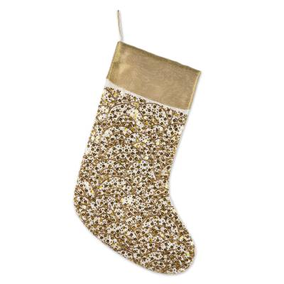 Artisan Handmade Glittering Gold Sequin Christmas Stocking