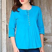 Cotton tunic, 'Elegant Cyan' - Cyan Blue 100% Cotton Embroidered Front Button Tunic