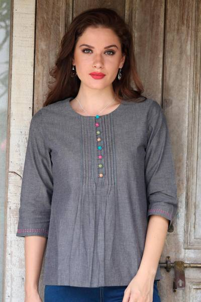 Cotton tunic, 'Elegant Grey' - Stone Grey 100% Cotton Embroidered Front Button Tunic