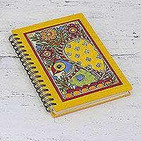 Handmade paper journal, 'Swaying Peacock' - Handmade Paper Spiral Bound Peacock Journal from India