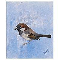 'Forever Friends' - Signed Painting of a Sparrow in Blue from India