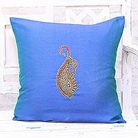 Embroidered cushion cover, 'Paisley Perfection in Blue' - Hand Embroidered Blue Paisley Motif Cushion Cover from India