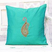 Embroidered cushion cover, 'Paisley Perfection in Green' - Hand Embroidered Turquoise Paisley Cushion Cover from India