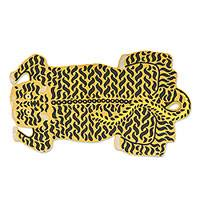 Chain stitched wool rug, 'Royal Tiger' - Chain Stitched 100% Wool Tiger Motif Rug from India