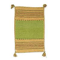 Cotton dhurrie rug, 'Delhi Delight in Green' (2x3) - Hand Woven Cotton Geometric Dhurrie Rug from India (2x3)
