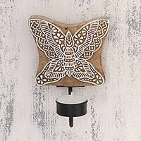 Wood tealight candle sconce, 'Butterfly Fantasy' - Handcarved Butterfly Wood Tealight Candle Sconce from India