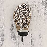 Wood tealight candle sconce, 'Jellyfish Delight' - Handcarved Jellyfish Wood Tealight Candle Sconce from India