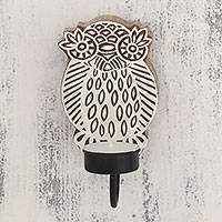 Wood tealight candle sconce, 'Wise Owl' - Handcarved Owl Wood Tealight Candle Sconce from India