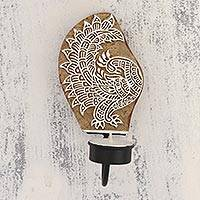 Wood tealight candle sconce, 'Royal Peacock' - Handcarved Peacock Wood Tealight Candle Sconce from India
