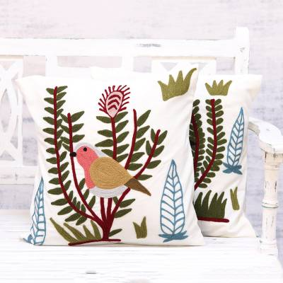 Chain stitched cotton cushion covers, 'Morning Bird' (pair) - Pair of Chain Stitched Cotton Bird Cushion Covers from India