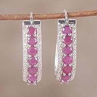 Ruby and diamond hoop earrings,