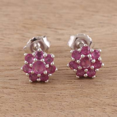 Ruby stud earrings, 'Floral Sunset' - Ruby and Rhodium Plated Sterling Silver Stud Earrings