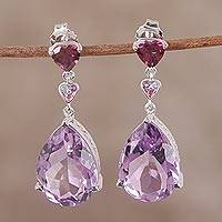 Rhodium plated multi-gemstone dangle earrings, 'Regal Passion' - Indian Amethyst Rhodolite and Tanzanite Dangle Earrings