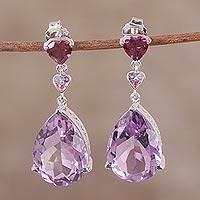 Rhodium plated multi-gemstone dangle earrings,