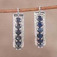 Sapphire and diamond hoop earrings, 'Jaipur Majesty' - Sapphire and White Topaz Sterling Silver Hoop Earrings