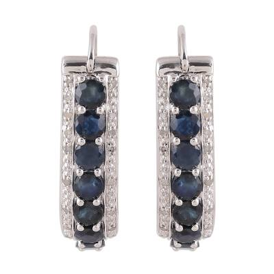 Sapphire and White Topaz Sterling Silver Hoop Earrings