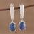 Sapphire dangle earrings, 'Modern Opulence' - Handmade Indian Sapphire and Sterling Silver Dangle Earrings thumbail