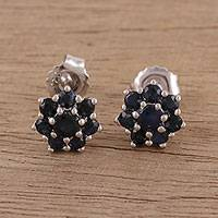 Sapphire stud earrings, 'Floral Moonlight' - Handcrafted Sapphire and Sterling Silver Stud Earrings