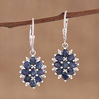 Sapphire dangle earrings, 'Majesty Blooms' - Sapphire and Rhodium Plated Sterling Silver Dangle Earrings