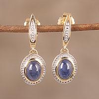 Gold plated sapphire dangle earrings,