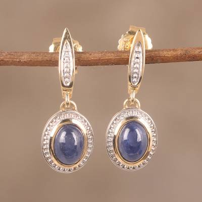 Gold plated sapphire dangle earrings,  'Antique Grace' - Handmade 14k Gold Plated Sapphire Dangle Earrings from India