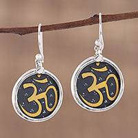 Sterling silver dangle earrings, 'Sanskrit Mantra' - Handmade Indian Om Mantra Sterling Silver Earrings