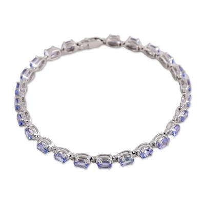 Rhodium Plated Sterling Silver Tanzanite Tennis Bracelet
