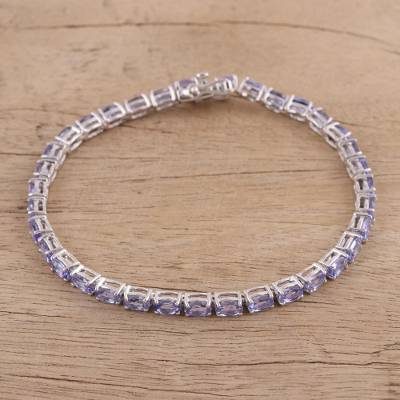 Tanzanite tennis bracelet, 'Lavender Magnificence' - Tanzanite and Sterling Silver Tennis Bracelet from India