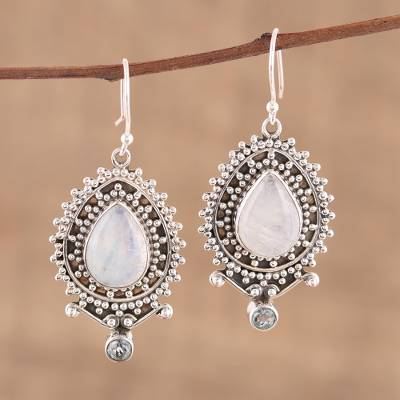Rainbow moonstone and blue topaz dangle earrings, 'Tranquil Beauty' - Rainbow Moonstone and Blue Topaz Dangle Earrings