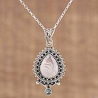 Rainbow moonstone and blue topaz pendant necklace, 'Tranquil Beauty' - Handcrafted Rainbow Moonstone Pendant Necklace from India
