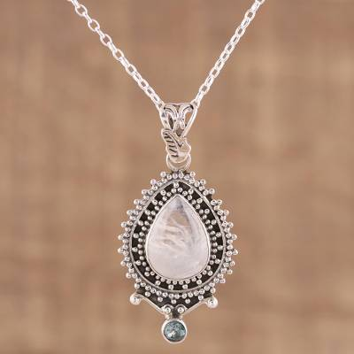Rainbow moonstone and blue topaz pendant necklace, Tranquil Beauty