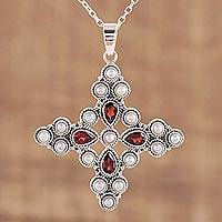 Garnet and cultured pearl pendant necklace, 'Royal Cross' - Garnet and Cultured Pearl Pendant Necklace from India