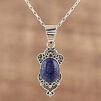 Lapis lazuli pendant necklace, 'Gleam of Hope' - Handmade Lapis Lazuli and Sterling Silver Pendant Necklace