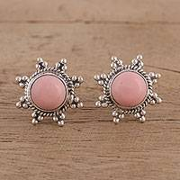 Opal button earrings, 'Starry-Eyed' - Star Shaped Pink Opal and Sterling Silver Button Earrings