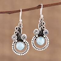 Blue topaz and larimar dangle earrings, 'Dazzling Intrigue' - Blue Topaz and Larimar Dangle Earrings from India