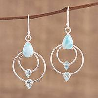 Blue topaz and larimar dangle earrings, 'Sparkling Sky' - Blue Topaz and Larimar Dangle Earrings from India
